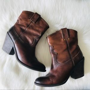 Lucky Brand Western Style Leather Booties Shoes